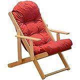 HWF Tumbonas Silla reclinable mecedora plegable sin restricciones de balcón Siesta sillón de madera maciza sofá silla ( Color : C )