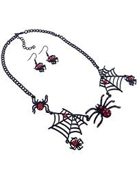 BESTOYARD Pendientes de collar Araña de malla Pendientes Araña corta Pendientes de botón Anillos Collar de mujer Set para mujeres