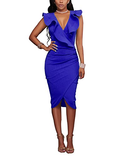 Super R&S Women's Ruffle Pencil Midi Dress Deep V Neck Sleeveless Asymmetric Hem