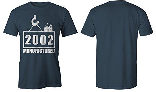 Manufactured 2002 - Rundhals-T-Shirt Männer-Herren - hochwertig bedruckt mit lustigem Spruch - Die perfekte Geschenk-Idee (03) dunkelblau