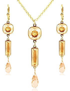Schmuckset mit Kristallen von Swarovski® Gold Golden Shadow - Made in Germany