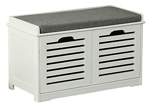 Orolay Moderne Schuhtruhe Sitzkommode Mit 2 Körben Sitzbank Schuhschrank Weiß