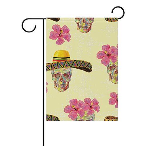 SUNOP Polyester-Gartenflagge mexikanisches Muster mit Totenköpfen Banner 30,5 x 45,7 cm für den Außenbereich, Haus, Garten, Blumentopf, Dekoration, Partyzubehör (Mexikanische Blumentöpfe)