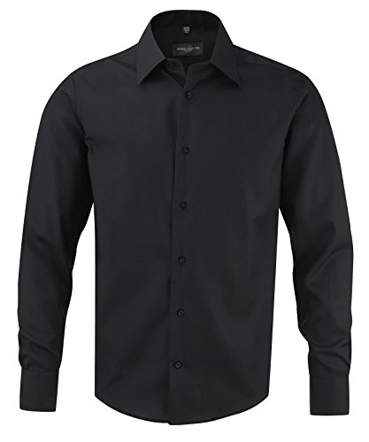 Russell Collection Mens Ultimate Tailored Long Sleeve Shirt Noir