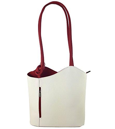 2 in 1 Handtasche Rucksack Designer Luxus Henkeltasche aus Echtleder in versch. Designs (Glattleder Weiß-Rot) (Blumen-print-handtasche)