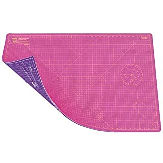 ANSIO A1 Double Sided Self Healing 5 Layers Cutting Mat Imperial/Metric 34 Inch x 22.5 Inch / 89cm x 59cm - Super Pink/Royal Purple