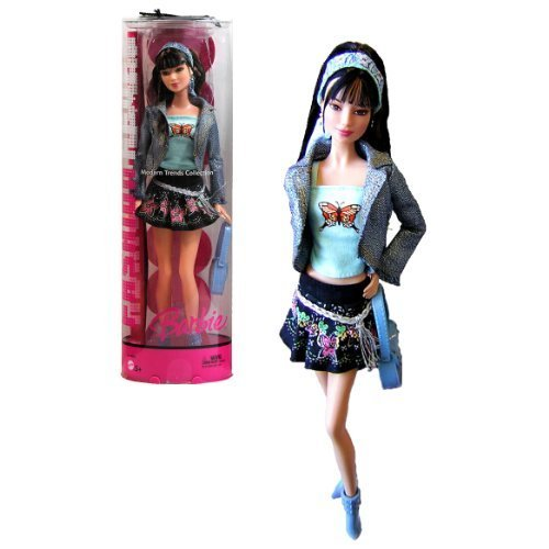 Mattel Year 2005 Barbie FASHION FEVER Modern Trends Collection Series 12 Inch Doll - LEA with Denim Jacket, Light Blue Tube Tops, Black Mini Skirt, Earrings, Hairband, Purse, Boots, Mini Poster and Display Stand (J1362) by Barbie Mini Tube Top