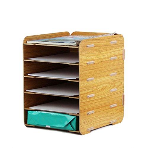 DZXM Bücherregal Massivholz Bücherregal Regal Desktop-Lagerregal Multi-Layer-Datei-Halter-Dateien Rack Bürobedarf,A (Bücherregal Schokolade)