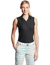 Greg Norman Women's Protek Micro Plique Sleevless Polo Shirt - Black, Medium