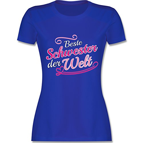 Shirtracer Schwester & Tante - Beste Schwester der Welt - Damen T-Shirt Rundhals Royalblau