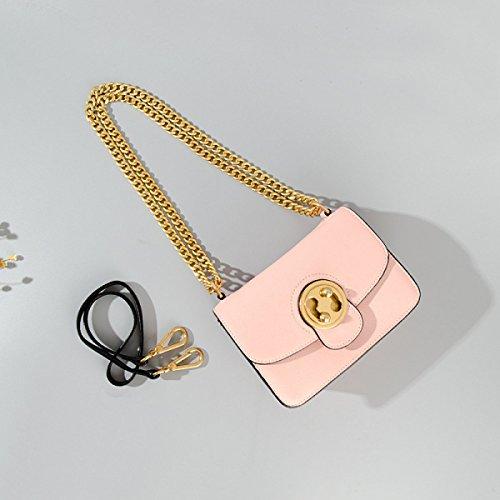 Donne Cuoio Genuino Colore Solido Piccola Piazza Pacchetto Singola Spalla Crossbody Bag Pink