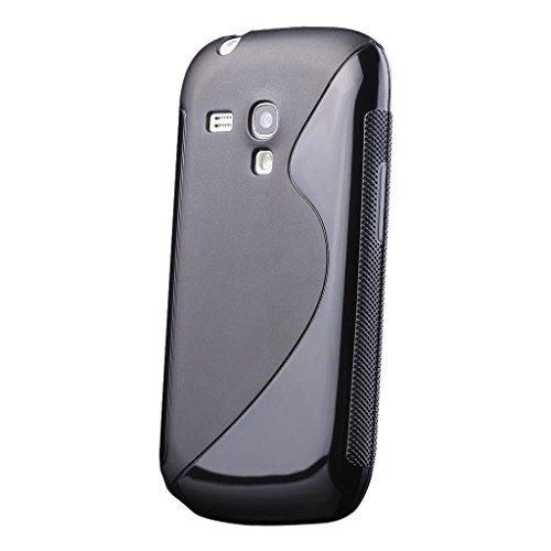 iCues Schutzhülle kompatibel mit Samsung Galaxy S3 MINI | S-Line Black Case Schwarz | [Display Schutzfolie Inklusive] Silikon Gel Hülle Cover Schutz - Gel Case S3 Samsung