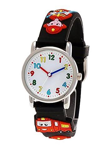 Pure Time® Kinder-Uhr Mädchen-Uhr für Kinder Jungen-Uhr Silikon-Kautschuk Armband-Uhr Uhr mit 3d Feuerwehr Motiv (Spiderman Kostüme Designs)