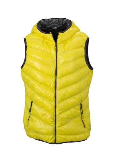 James & Nicholson Damen Jacke Daunenweste Ladies' Down Vest yellow/carbon