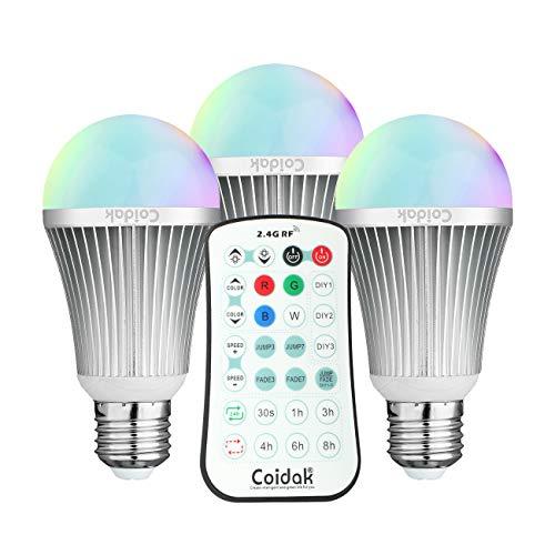 Coidak CO816 E27 6W RGB LED Birne mit Farbwechsel und Timer, Große Reichweite der 2,4G Fernbedienung (NICHT IR/Infrarot), Dimmbar, Leuchtmittel mit reinem weißem + farbigem Licht, A60, 3er Set - Reichweite Timer