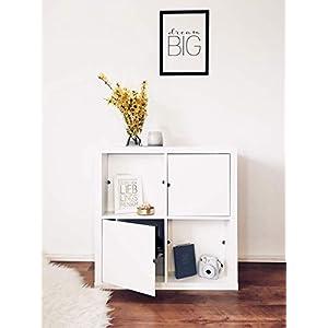 Regaleinsatz passend für Ikea Kallax Expedit | Als stufenlos verschiebbare Cover | Nutzbar als Rückwand Sichtschutz Raumtrenner | Ohne Kleben/Schrauben | 33x33x0.5cm | Weiß