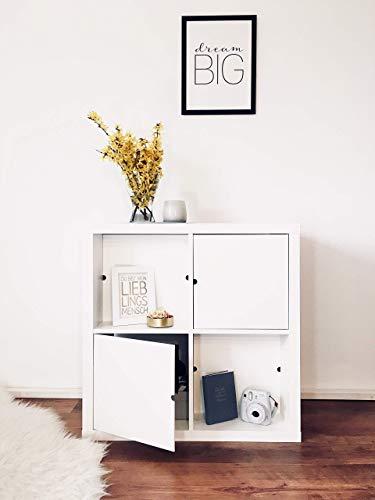 Regaleinsatz passend für Ikea Kallax und Expedit Regal Fächer | Als stufenlos verschiebbares Cover oder Tür | Nutzbar als Rückwand Raumtrenner Ordnung Deko| Ohne Schrauben | 33,5x33,5x0.5cm| Weiß