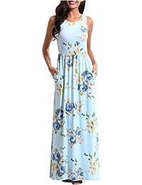 Vestido Largo sin Mangas con Estampado Floral y Bolsillos para Mujer Absolute