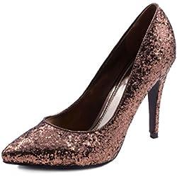 Jumex Damen Glitzer Disco Party Schuhe Pumps High Heels Bronze 41