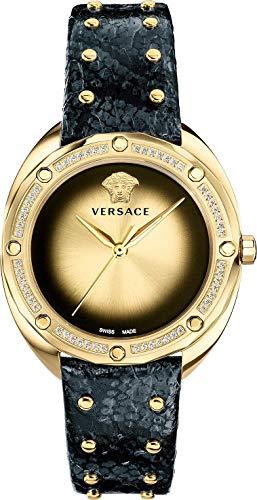 Versace Damen 'Shadov' Quarzuhr, Goldton und Schlangenhaut, Farbe: Schwarz (Modell: VEBM01118)