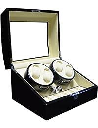 Keedz® Watch Winder Elegance - Vitrinas movimiento de calidad para 4 relojes automáticos y almacenamiento adicional para 6 relojes en negro con interieur blanco y 5 diferentes programas