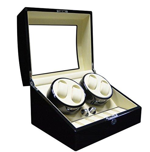 Keedz Uhrenbeweger Elegance - Stilvoller Uhrenbeweger für 4 Automatikuhren mit Uhrenaufbewahrung für 6 Uhren in Klavierlack Schwarz und weißem Interieur mit 5 unterschiedlichen Programmen