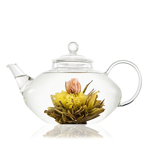 NO.1 COFFEE & TEA PRODUCTS PRESTIGE GLASS TEAPOT WITH INFUSER – LARGE 1 LITRE TEAPOT – 4 CUP SIZE – PERFECT FOR FLOWERING TEA – REMOVABLE FILTER FOR LOOSE TEA – HEAT RESISTANT, ULTRA CLEAR GLASS BEST BUY REVIEWS UK