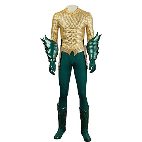Superheld Golden Kostüm - QWEASZER clothing Justice League Aquaman Golden 1: 1 Kostüm Deluxe Edition Arthur Curry Superheld Cosplay Kleidung Kostüm Body Overalls Film Kleidung Requisiten - Anpassbare Größe,Gold-XL