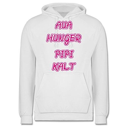Statement Shirts - Aua, Hunger, Pipi, Kalt - Männer Premium Kapuzenpullover / Hoodie Weiß