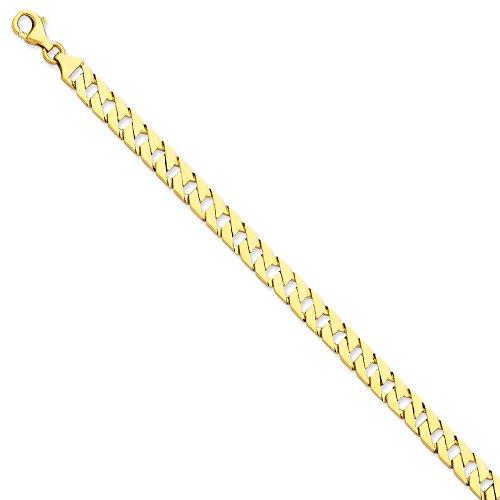 Or 14ct 7mm Poli à la main Fancy Lien Bracelet Chaîne-Longueur Options: 18-20