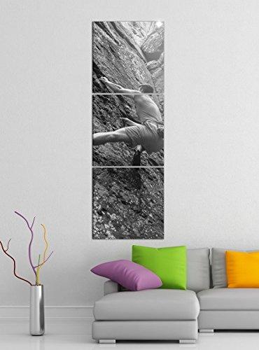 Leinwandbild 3tlg Freeclimbing Felsen Klettern Extrem schwarz weiß Bilder Druck auf Leinwand Vertikal Bild Kunstdruck mehrteilig Holz 9YA5045, Vertikal Größe:Gesamt 30x90cm