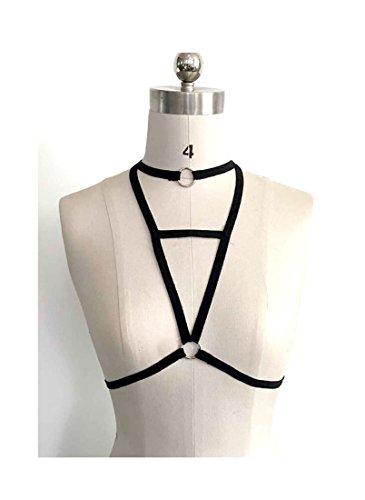 Add Health Damen Pentagramm Harness Strappy Geschirr Pentagramm Knechtschaft BH 051 Black