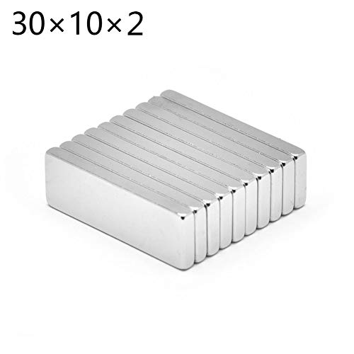 EROSPA® 10 Stück Neodym Magnete - Eckig Flach Ultra Starke Dauermagnete - 30 x 10 x 2 mm - NdFeB - Silber