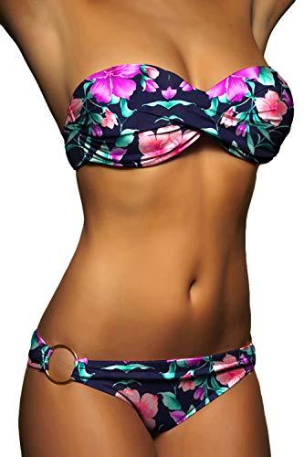 ALZORA Push Up Bandeau Twist Bikini Set Damen Pushup Badeanzug VIELE Bunte Farben und Größen Top + Hose Set, 50001 (M, A10)