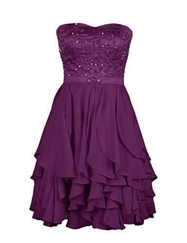 Dresstells Damen Kleider Chiffon Knielang Cocktailkleid mit Rüschen DT90505 Grape