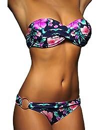 ALZORA Push Up Bandeau Twist Bikini Set Damen Pushup Badeanzug viele Bunte Farben und Größen Top + Hose Set, 50001