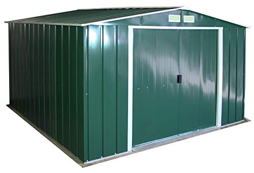 Duramax ECO Metal Shed 10\' x 10\', Green with Off-White Trimming