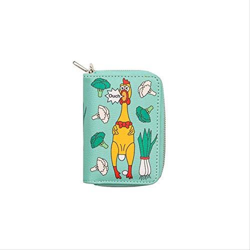 Convenience-Shop Doppelschicht Null Brieftasche Cartoon Niedlich Multi-Card-Karte Tasche Multifunktions-geldbörse Grünes Screamchicken