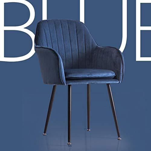 Metall-breit-stuhl (IUYWL Rückenlehne Metall Stuhl Gold samt Kissen Schwamm hoch Rebound kosmetische Kaffee Stuhl 3 Farbe optional sitzhöhe 47 cm Stuhl (Color : A))
