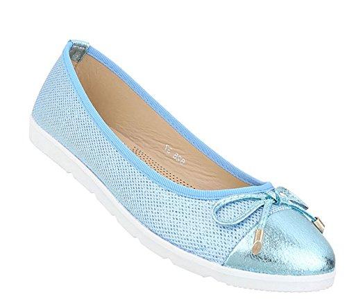 Damen Ballerinas Schuhe Lofers Espadrilles Pumps Hellblau 38