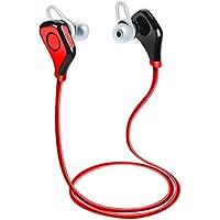 Auriculares Bluetooth Wireless Sport, TechCode Auriculares Bluetooth Auriculares inalámbricos Auriculares deportivos con Bluetooth en la oreja Micrófono con cancelación manual de ruido Audífonos de voz en inglés para iPhone 7/7 plus, 8/8 Plus, iPhone X, Samsung S8, S9 / S9 Plus y Otros teléfonos inteligentes (Rojo)