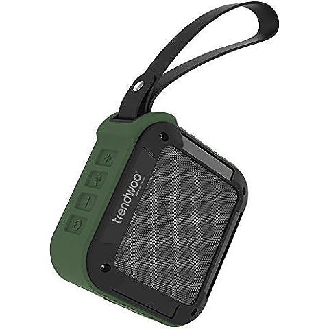 Trendwoo Rockman S - Altavoz Bocina Bluetooth Portatil Inalámbrico Impermeable IPX5 Bluetooth V4.0 para Deporte Ciclismo con Batería Recargable de 1500mAh para Aire Libre (Verde)