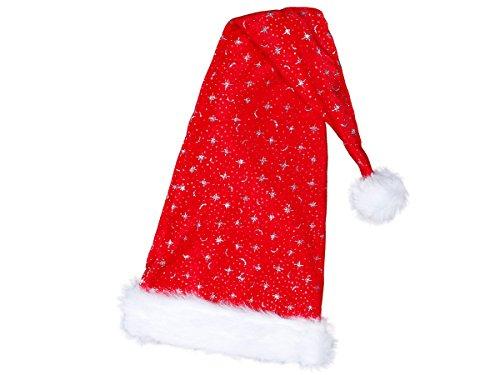 Alsino Weihnachtsmütze Nikolausmütze rot 27 cm mit Plüschrand, Bommel & Glitzer Sternchen, kuschelweich, lang, Kostüm-Accessoire, Weihnachts-Accessoire ()