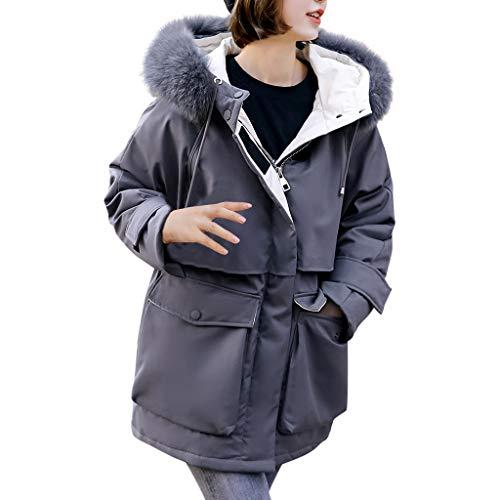 Xmiral Daunenjacke Damen Dicker Kapuzenmantel mit Große Tasche Jacke Lange Mantel Winter Herbst Warm Trenchcoat Wanderjacke(Grau,L)