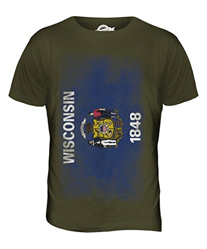 CandyMix Bundesstaat Wisconsin Verblichen Flagge Herren T Shirt Khaki Grün