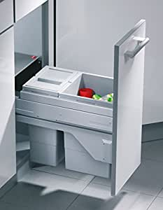 Poubelle encastrable cargo soft 25/2 séparation avec biodeckel hailo de 25 l (10 à 15 l) frontauszug auszugstechnik à partir de 30 cm avec rails pour armoire-pour armoires poubelle existants