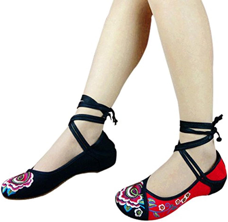 BOZEVON Zapatos para Mujer de la Lona del Bordado de Las Señoras Mary Jane Ligero de la Correa Sandalias Cómodas...