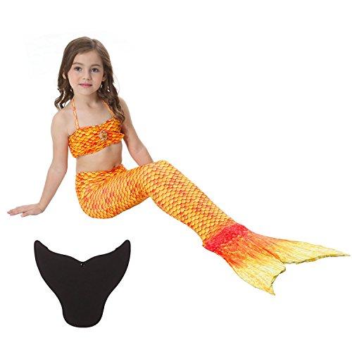 BabyPreg Cosplay Kostüm Meerjungfrau Bikini Set für Mädchen mit Monoflosse (Gold, 12)