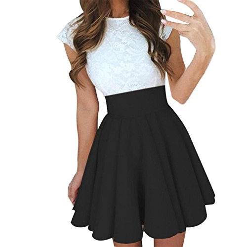 WINWINTOM Women High Waisted Basic Solid Versatile Stretchy Flared Stretchy Mini Flared Skater Skirt (L, Black)