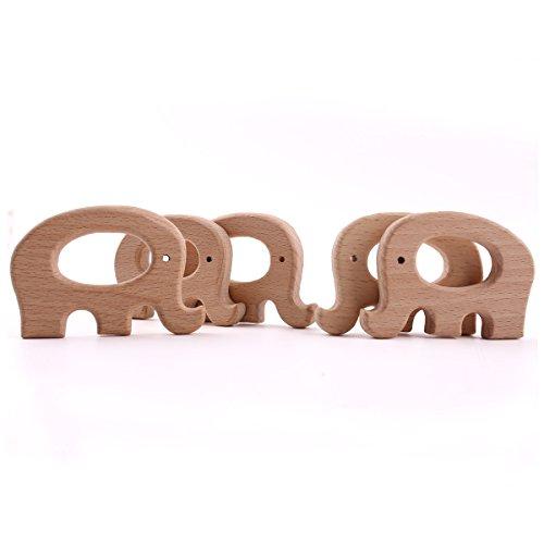 baby tete 5PCS Jouet de Dentition en Bois de Hêtre Éléphant en Forme Waldorf Toy Qualité Alimentaire Mom Kids Bijoux Dentition Bracelet Bricolage Pour Bébé
